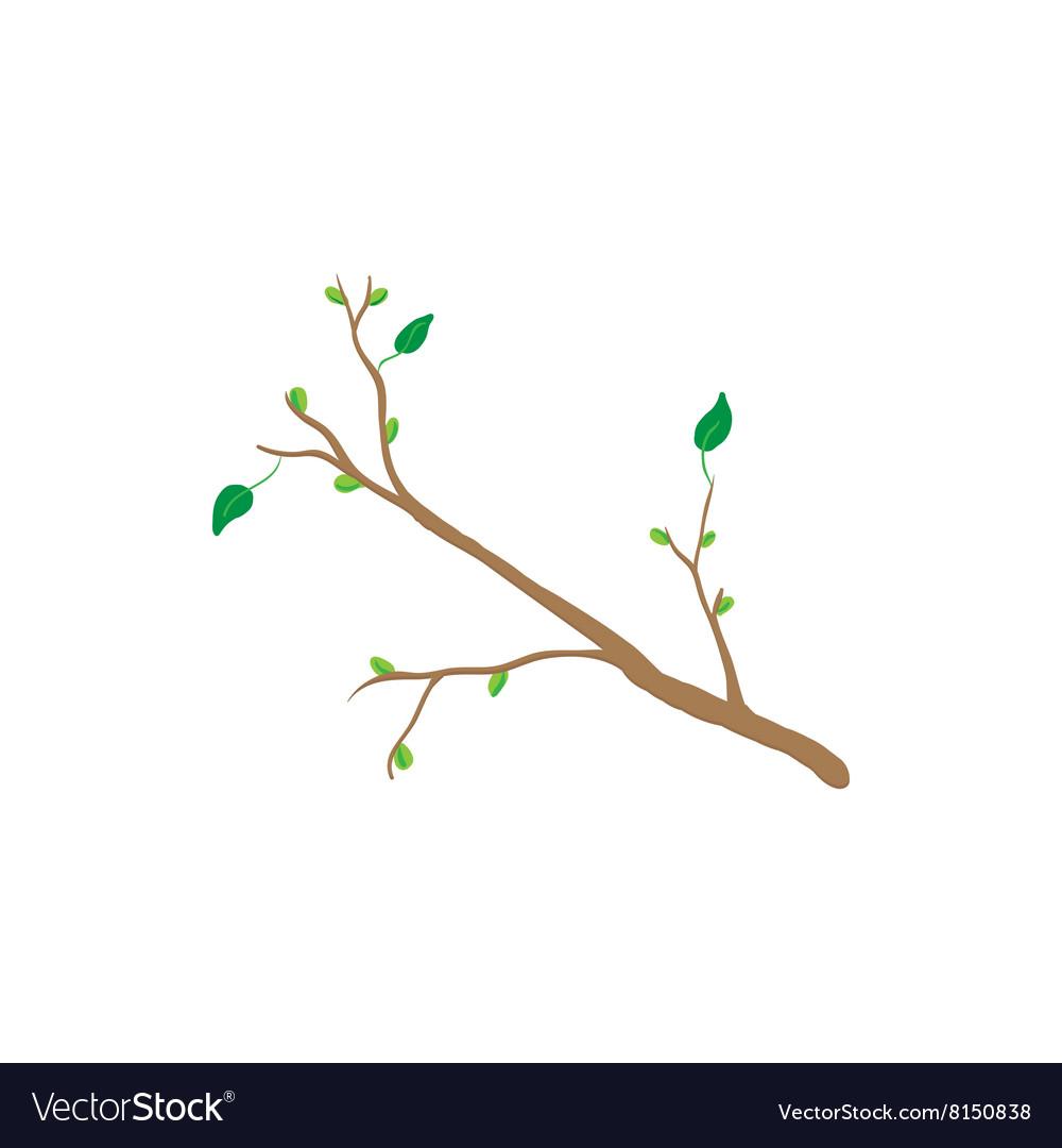 Spring Tree Branch Icon Cartoon Style Royalty Free Vector