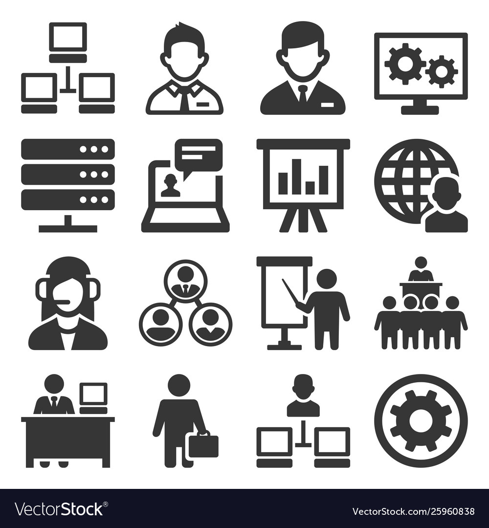 System administrator and operator icons set