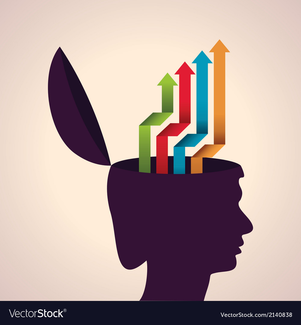Thinking concept-Human head with colorful arrows