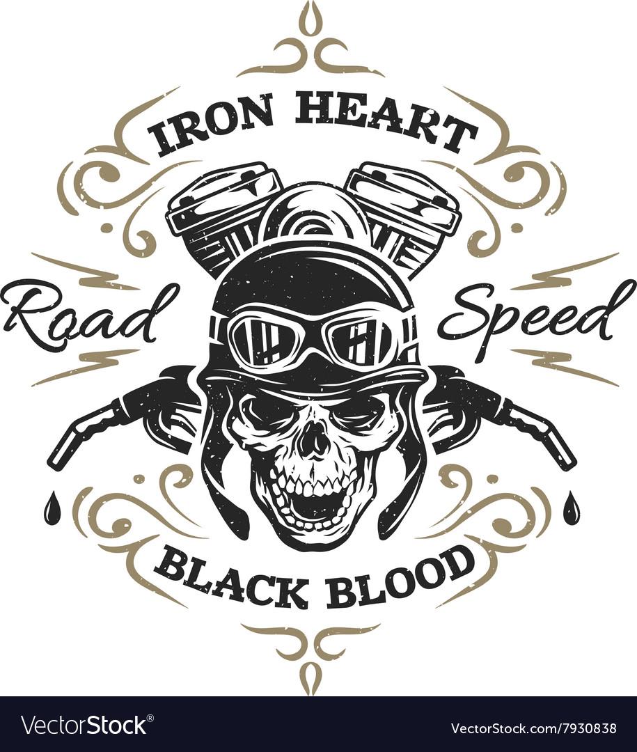 Vintage Biker Skull t-shirt prints vector image