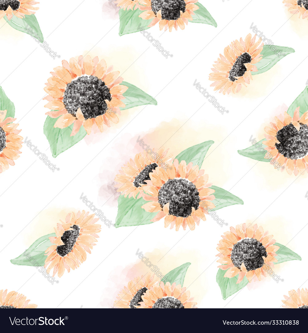 Watercolor yellow sunflower seamless pattern