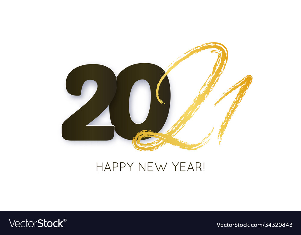 2021 happy new year hand drawn text lettering vector