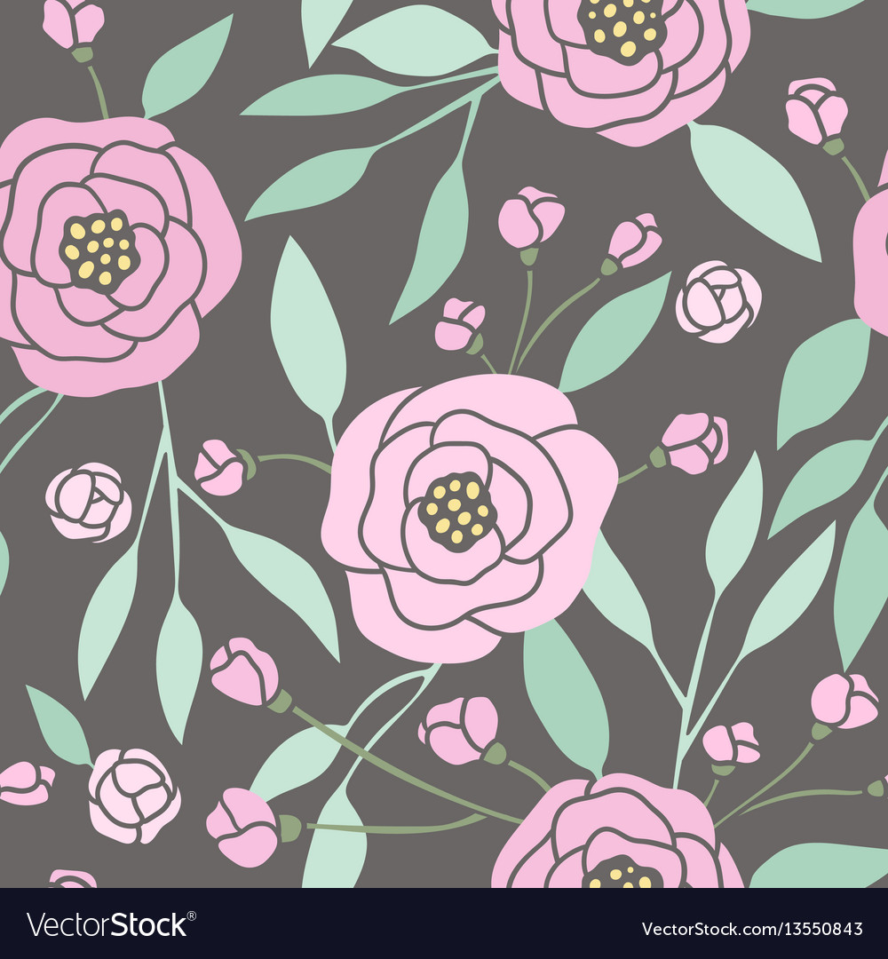 Dark seamless pattern with pink peonies