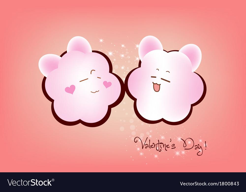 Happy valentine couple emotions vector image