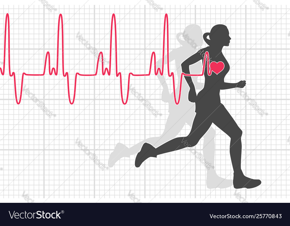Heartbeat electrocardiogram and running woman