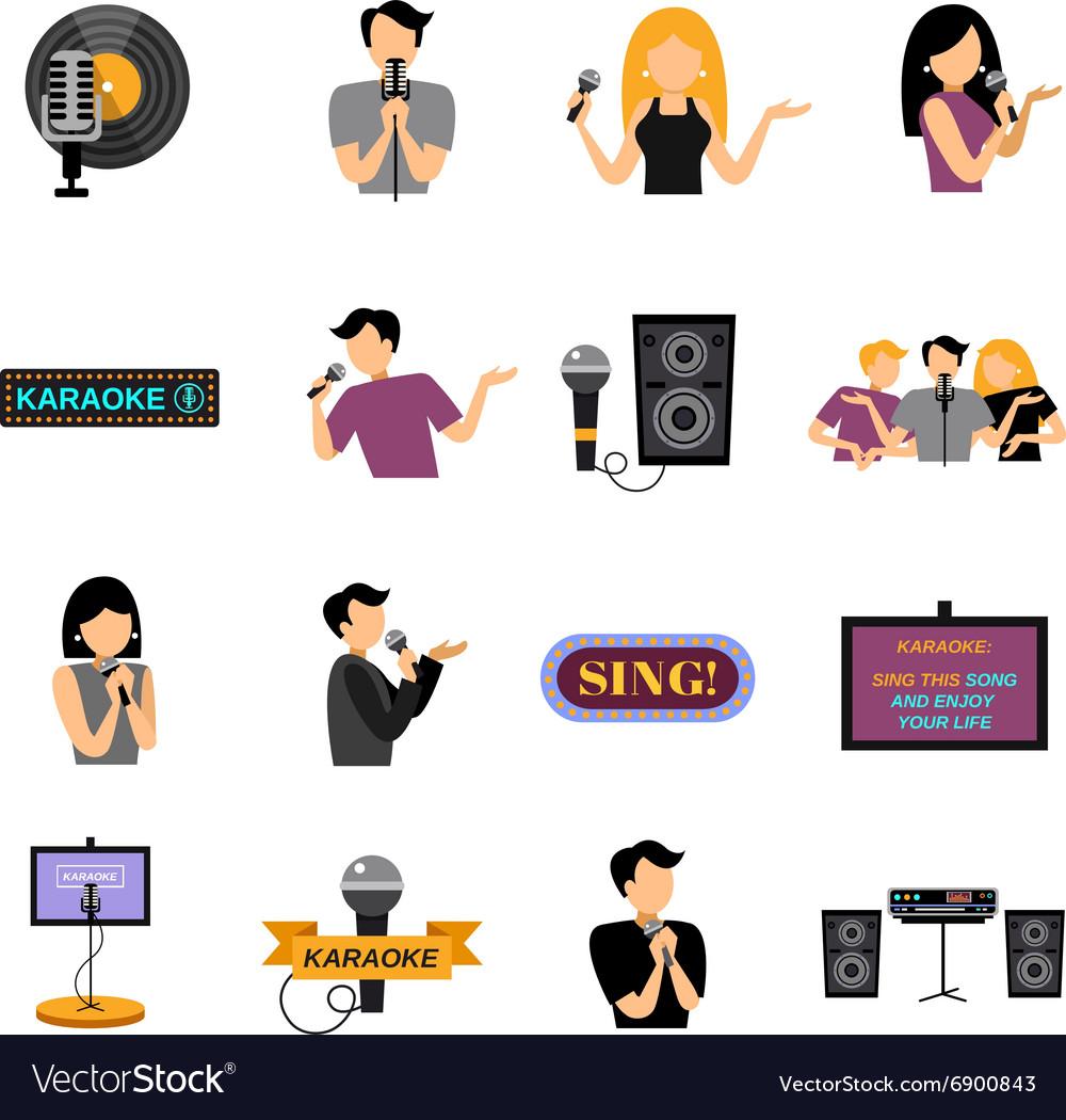 Karaoke Flat Icons Set vector image