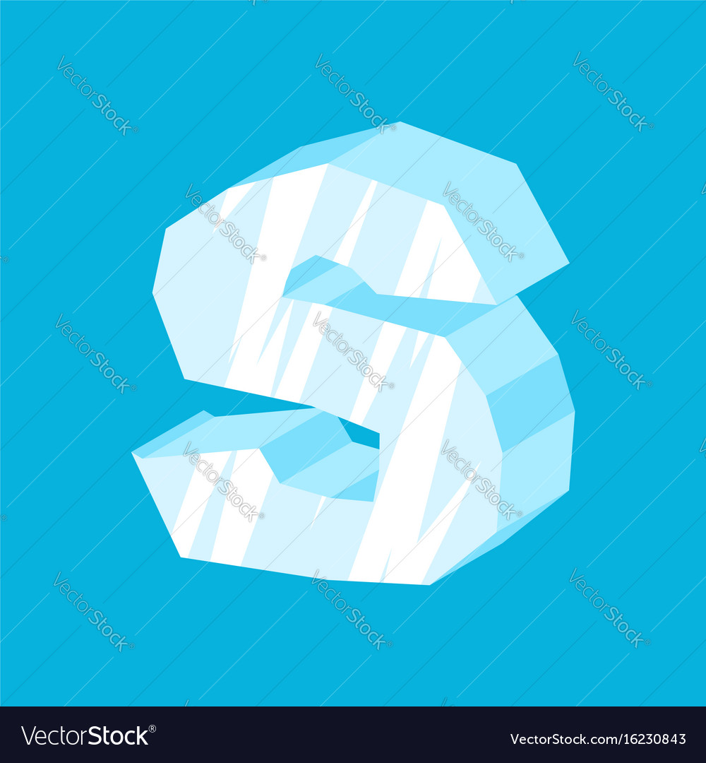 Letter s ice font icicles alphabet freeze vector image