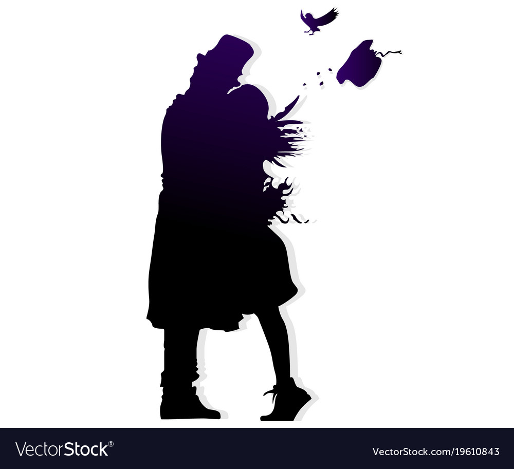 Many faces of men and women silhouette shadow kiss