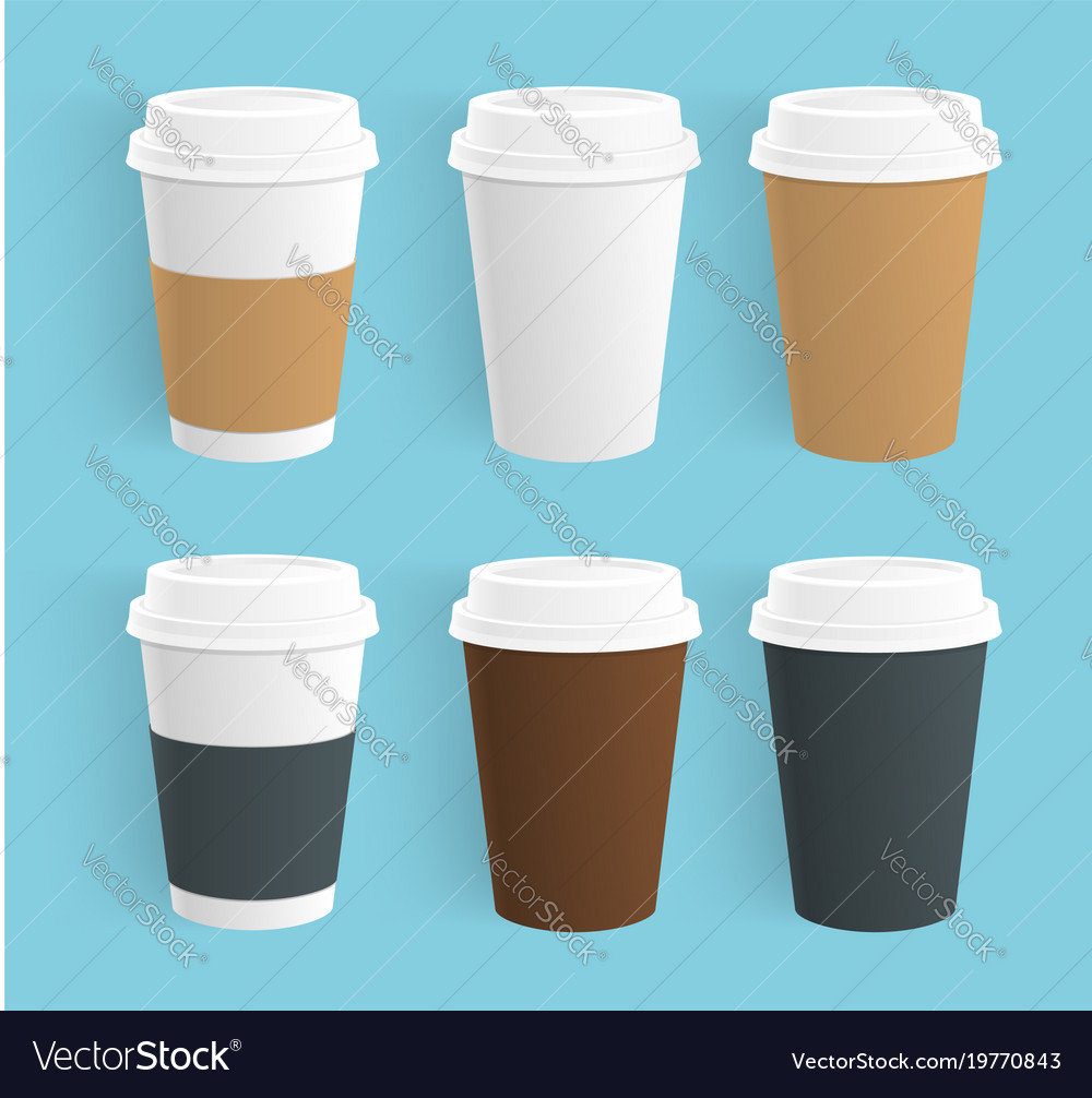 Set of disposable coffee cups realistic vector image