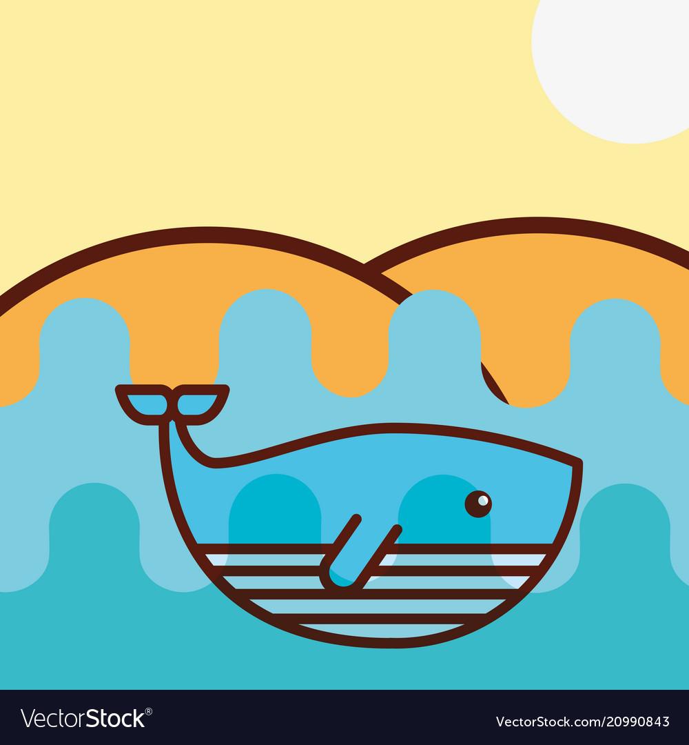 Whale sea life cartoon vector image