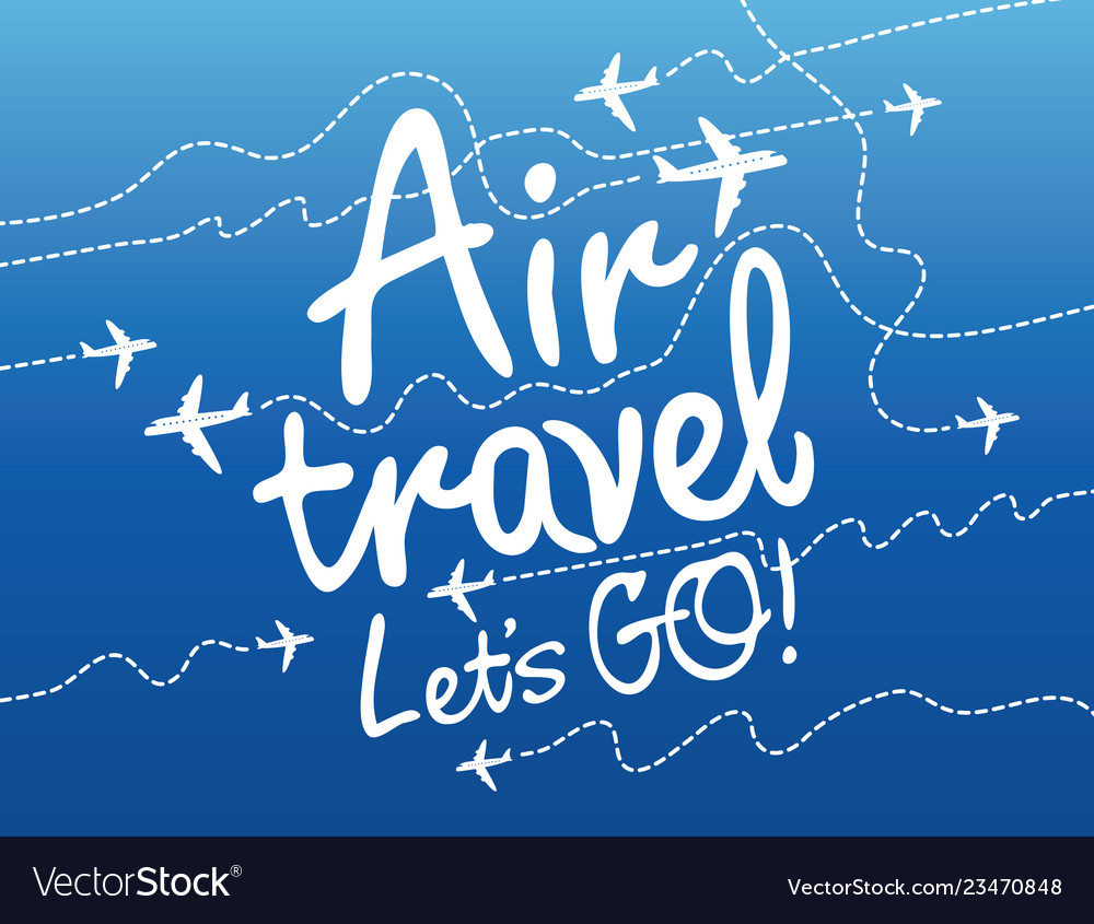 Banner for air travel with aircrafts in the sky