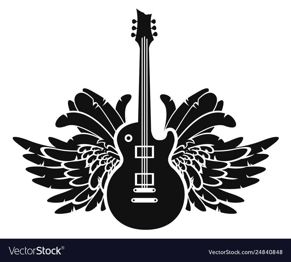Black And White Banner With Guitar And Wings Vector Image