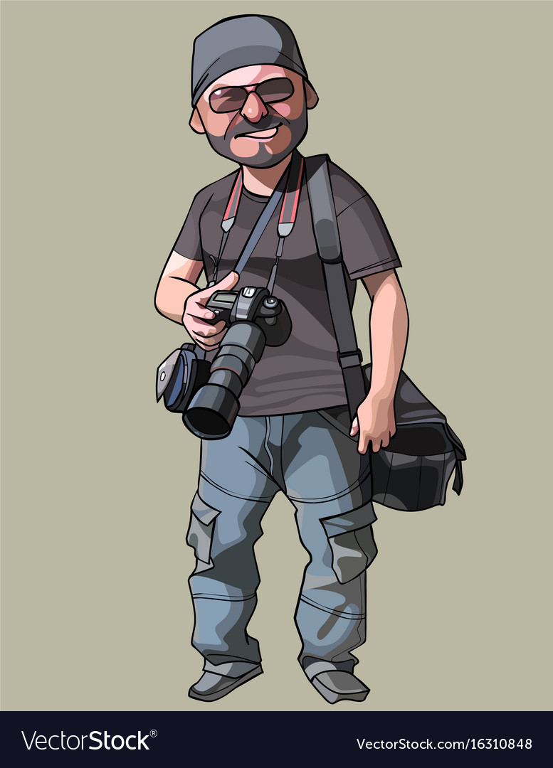 Cartoon joyful male photographer with camera vector image