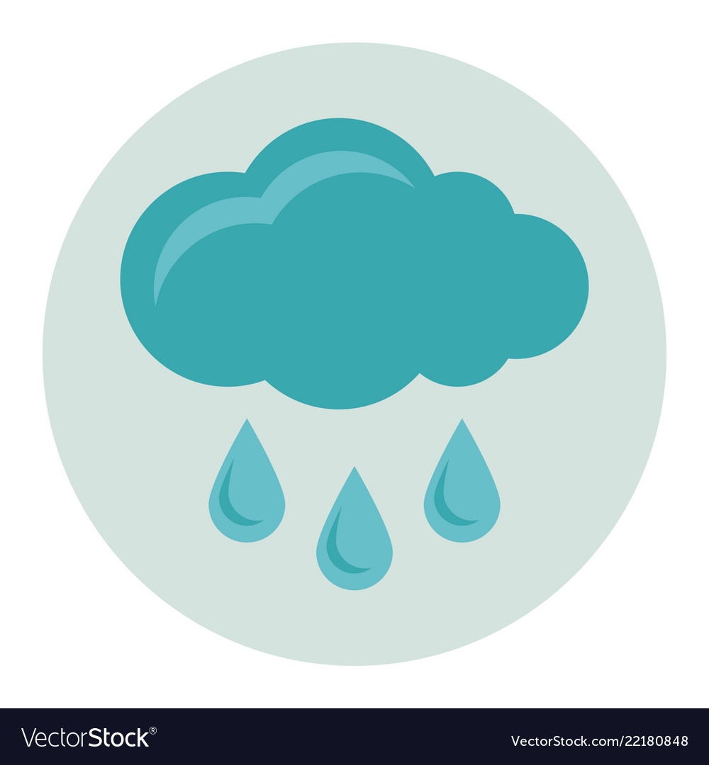 Cloud with rain flat icon