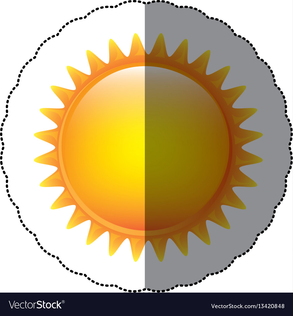 Color sticker sun icon vector image
