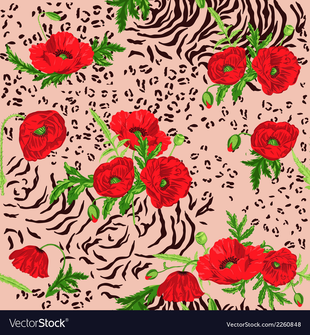 Floral seamless pattern - poppy and animal skin