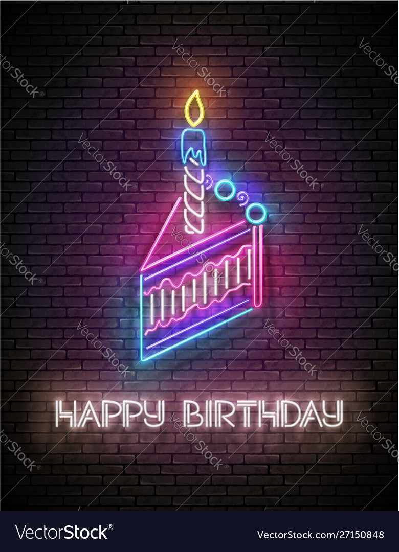 Glow greeting card with piece cake candle and