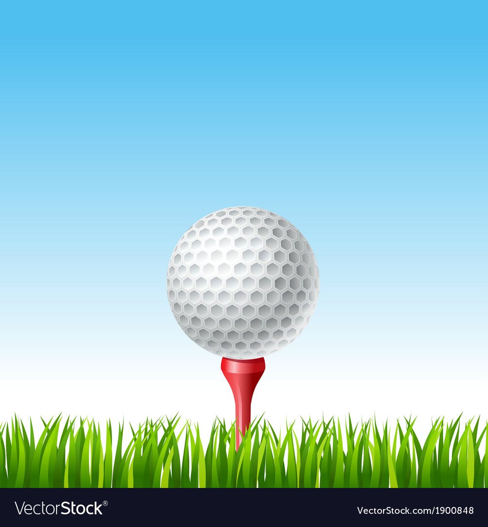 Golf Ball On A Tee On A Grass Royalty Free Vector Image