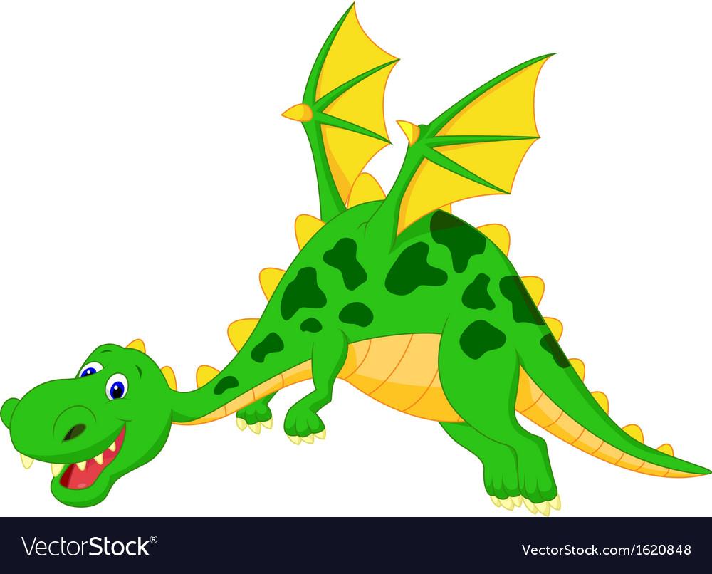 Happy dragon cartoon flying