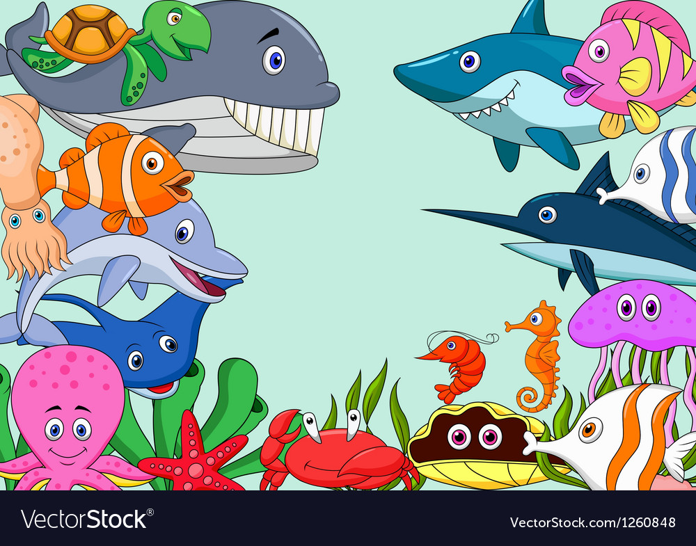 Sea life cartoon background vector image
