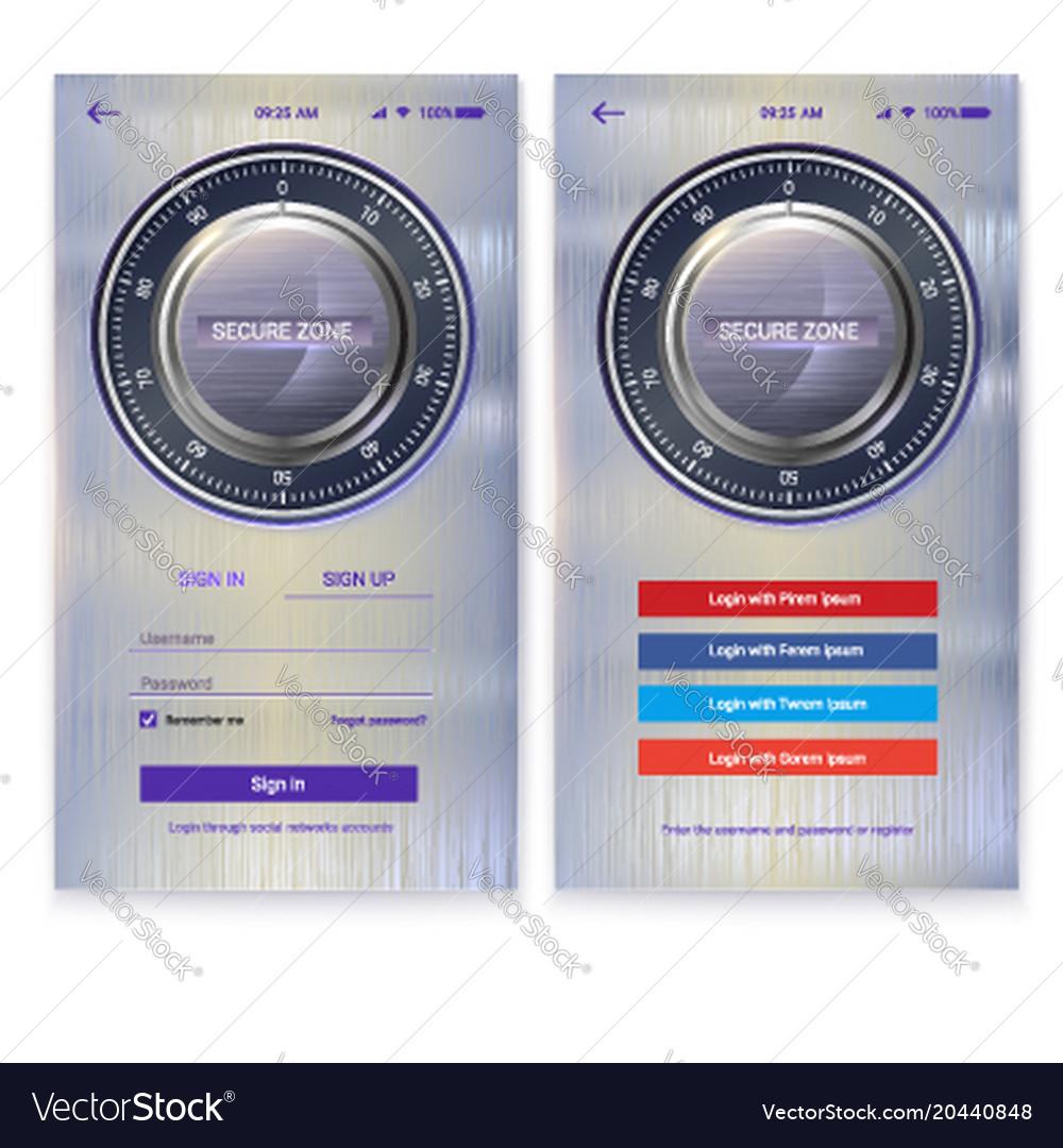Security application ui design on metal background vector image