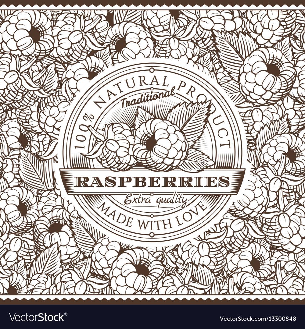 Vintage raspberries label on seamless pattern vector image