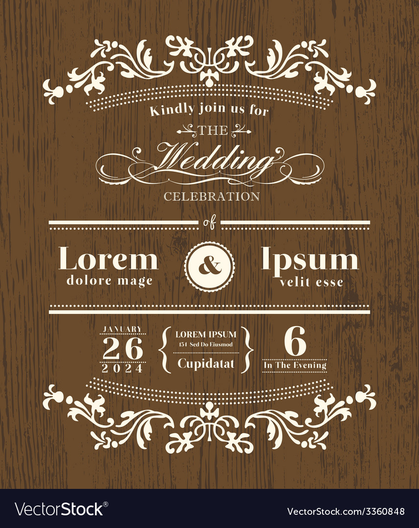 Vintage Typography Wedding Invitation Template