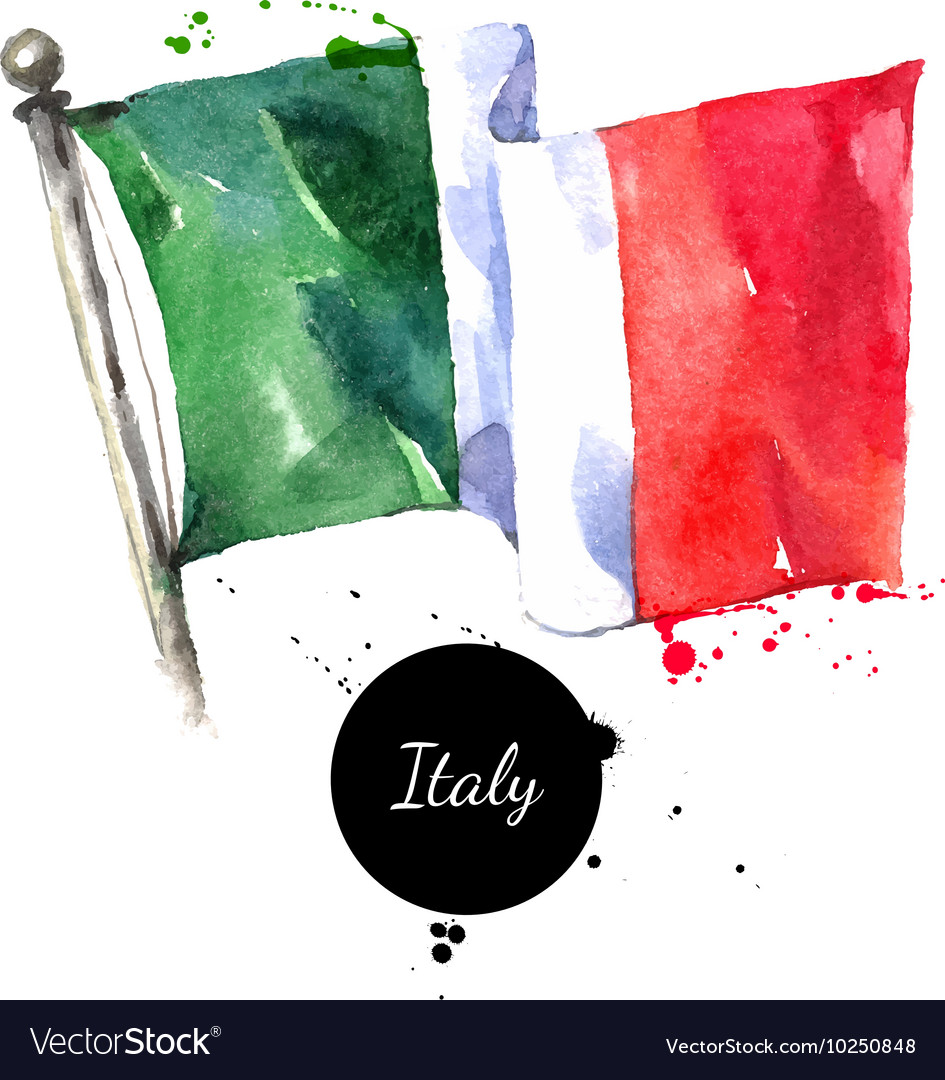 Watercolor Italy flag Hand drawn on white