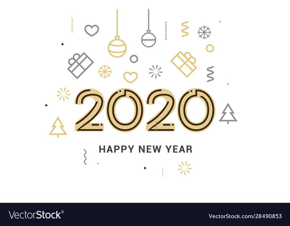 2020 new year design happy logo calendar