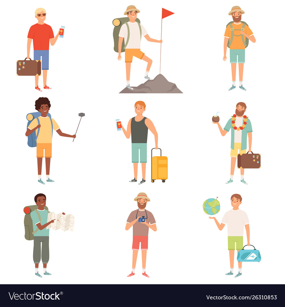 Adventure people outdoor characters backpackers