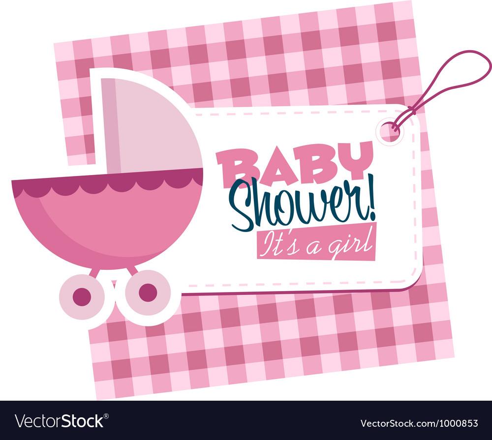 Baby Girl Stroller Invitation Card vector image