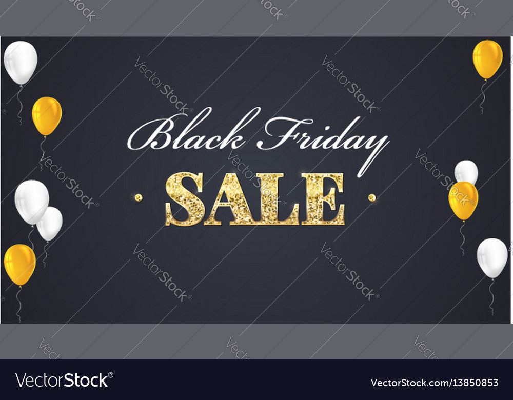 Black friday sale poster with shiny balloons on