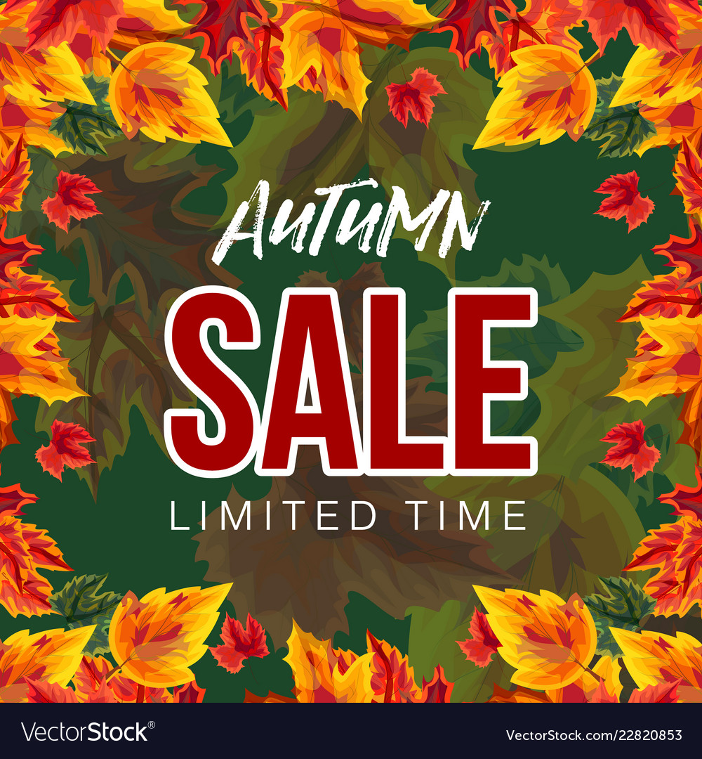 Bright banner with autumn sale promo