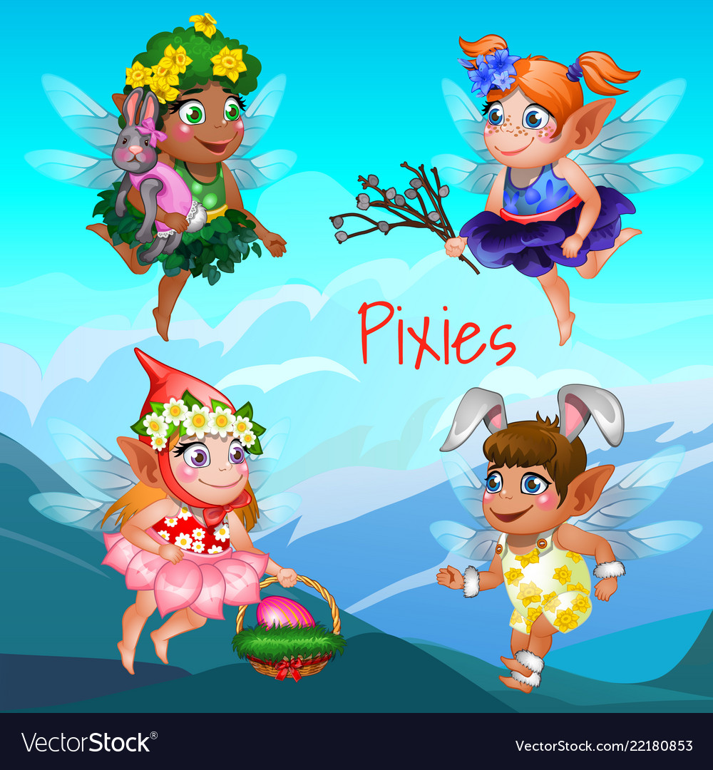 Cute poster with the little flying pixies with