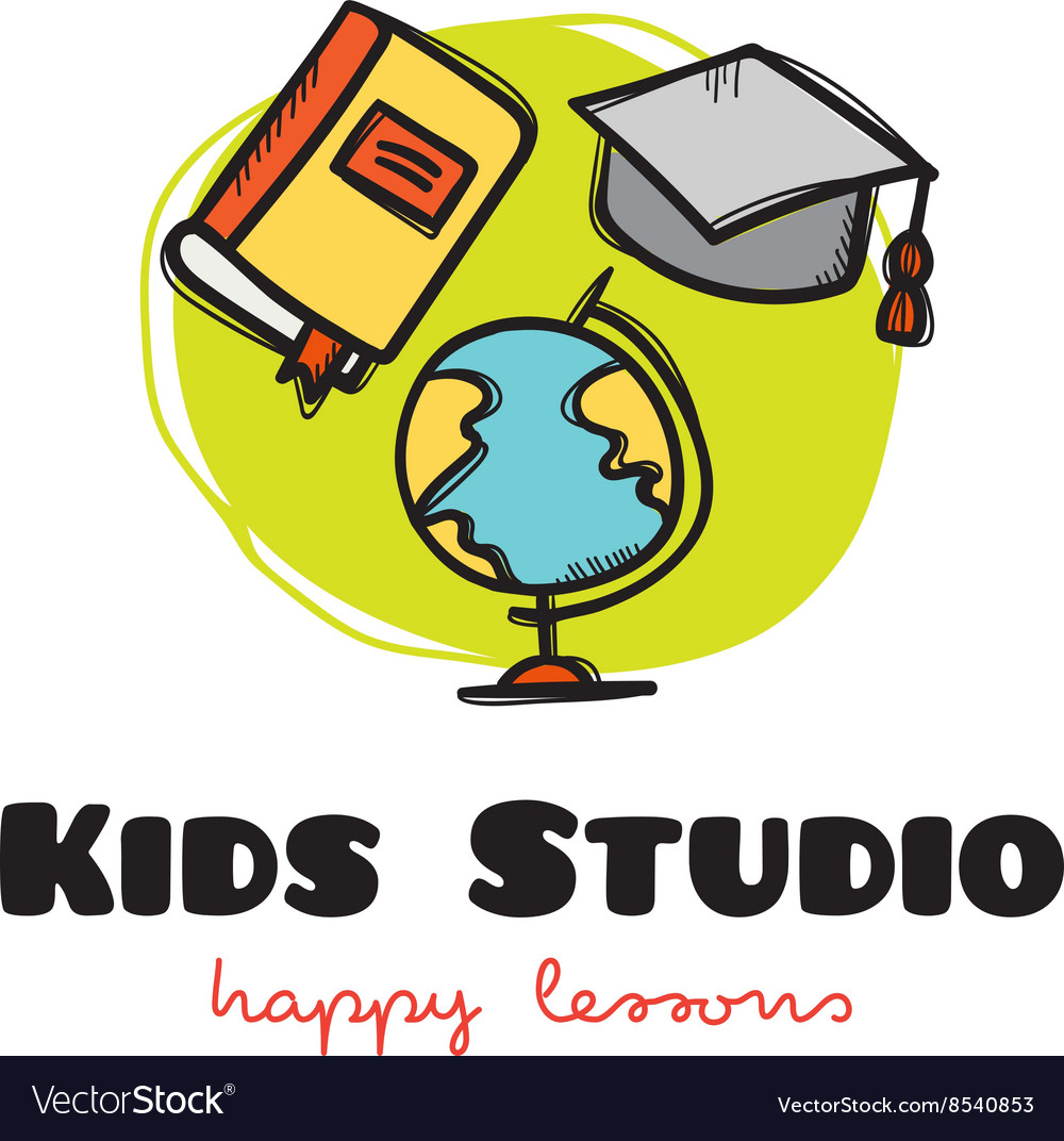 Funny cartoon style educational logo with