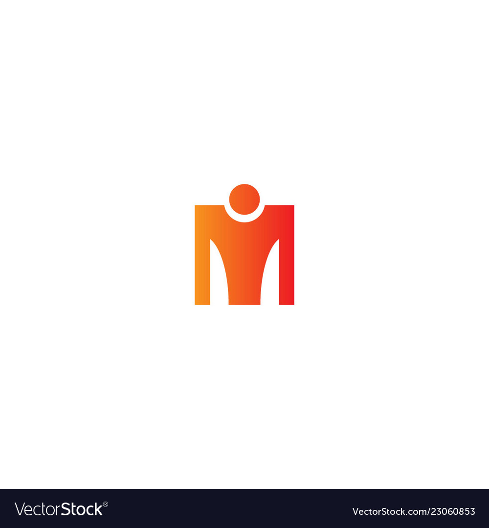 M initial person sign logo