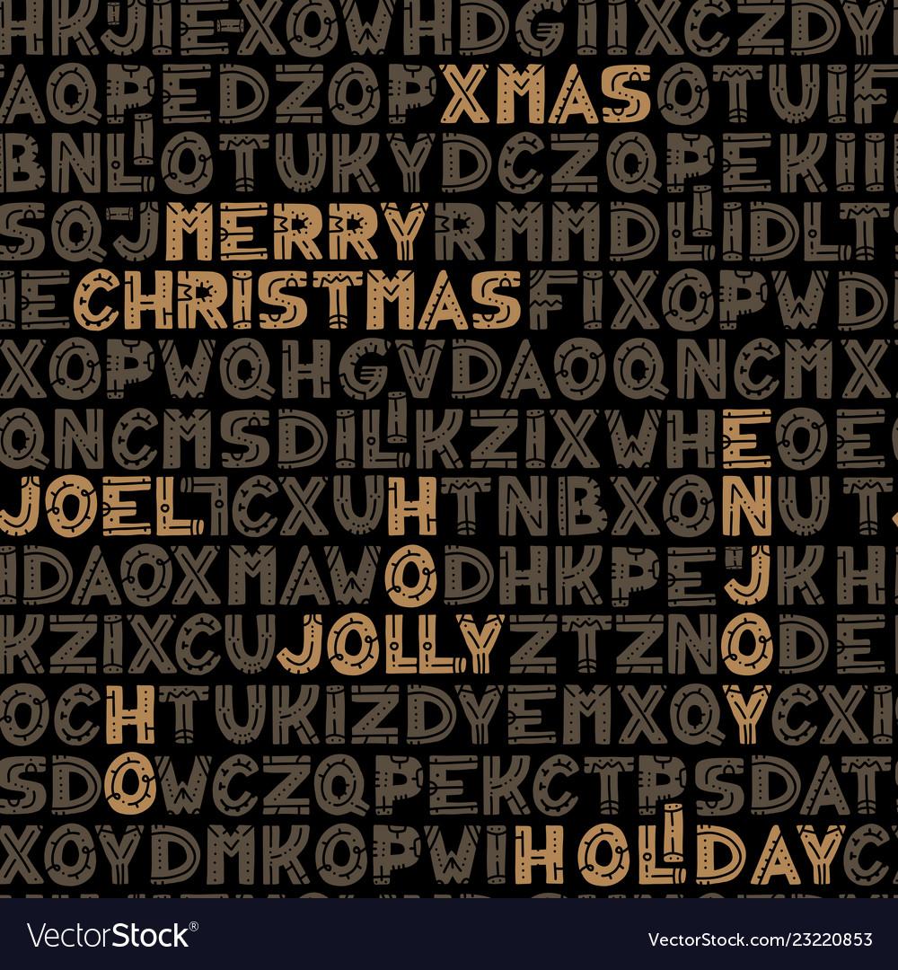 Seamless typographic christmas background design