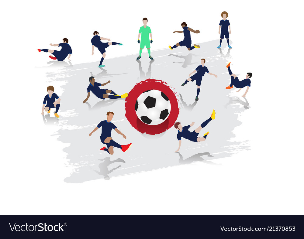 Soccer player team with japan flag background