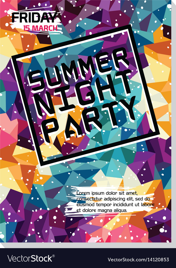 Summer Night Beach Party Poster Flyer Template Vector Image