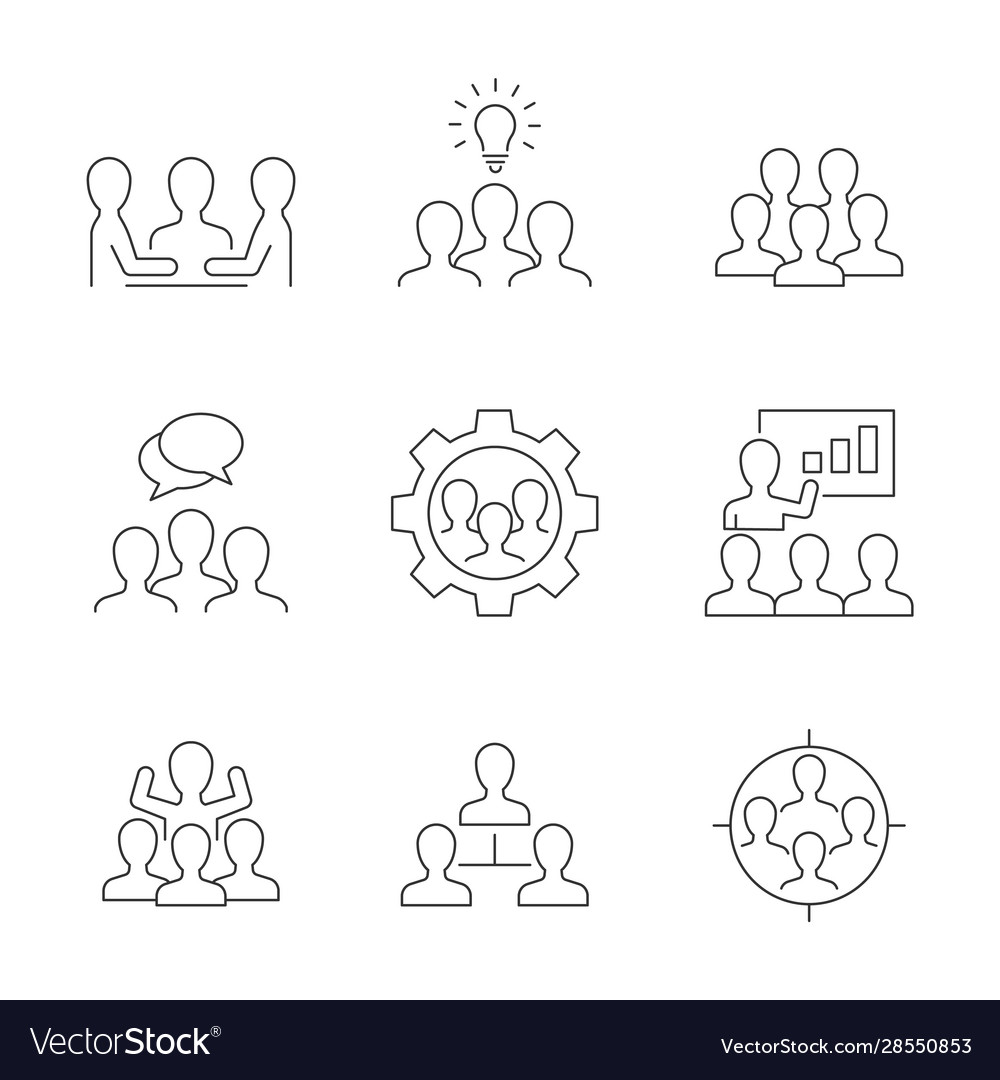Team work line icons on white background