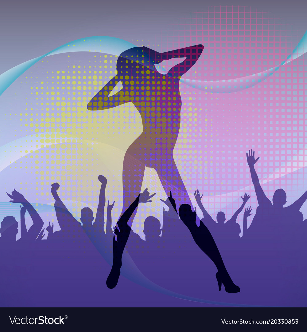 The dancing girl silhouette in nightclub with vector image
