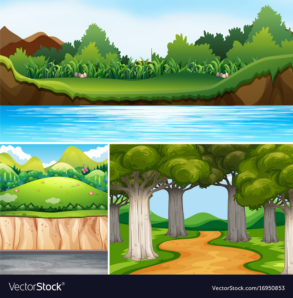 Three nature scenes with river and road