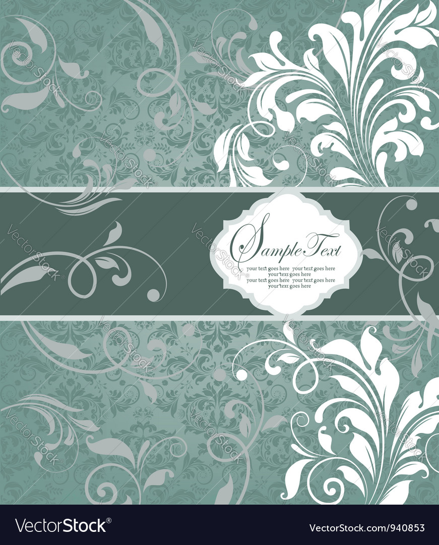 Vintage blue damask invitation with floral element