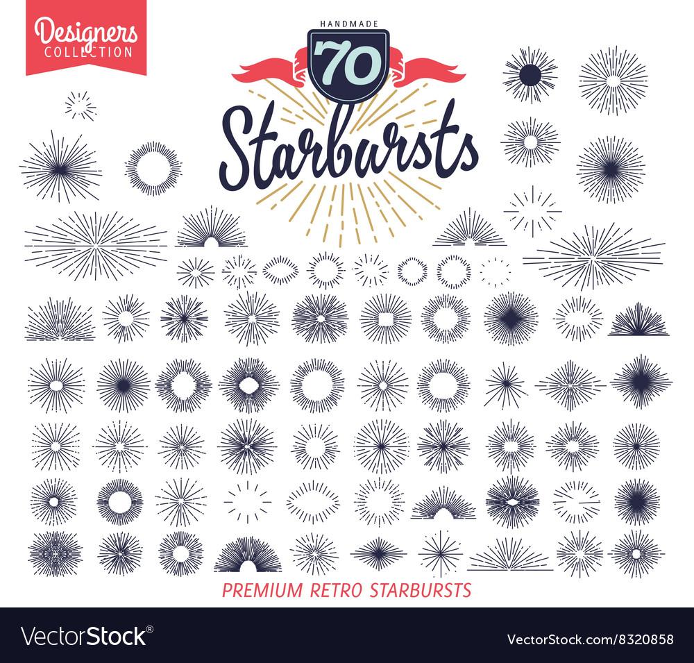 70 handmade sunburst design elements