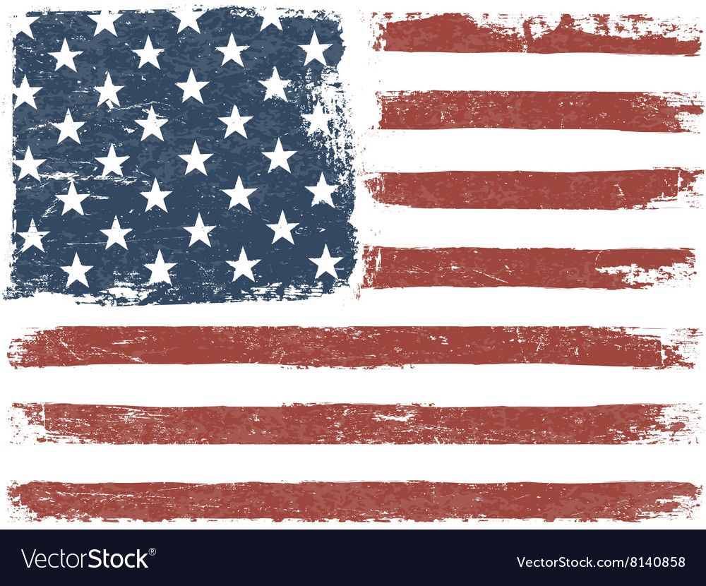 American Flag Grunge Background Template vector image