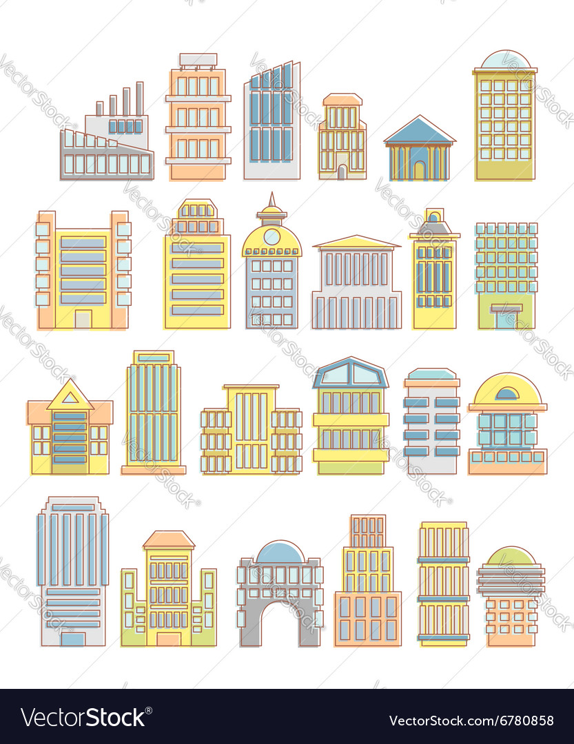 Collection of buildings houses and architectural