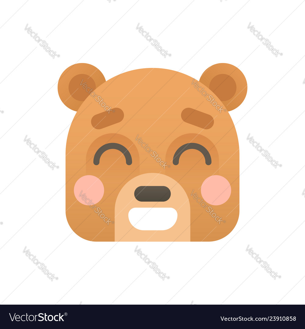 Cute bear flat logo icon portrait