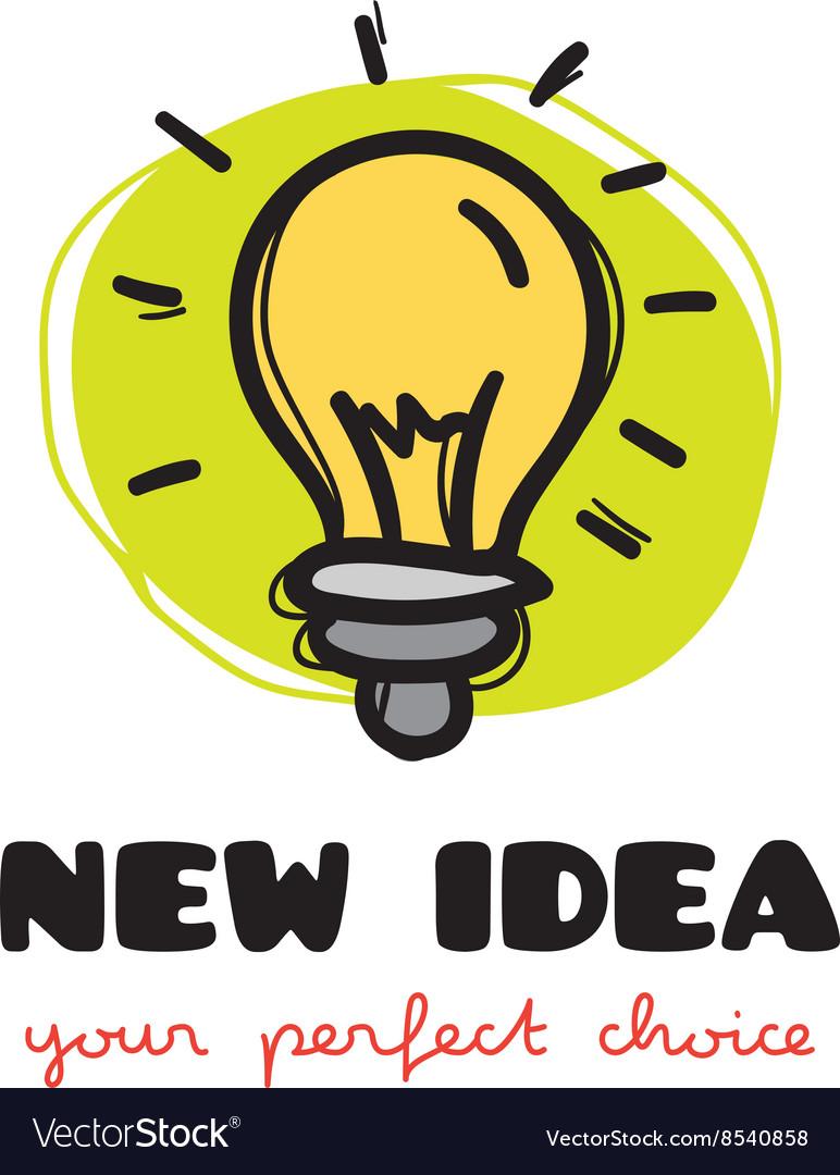 Funny doodle style light bulb logo Sketchy