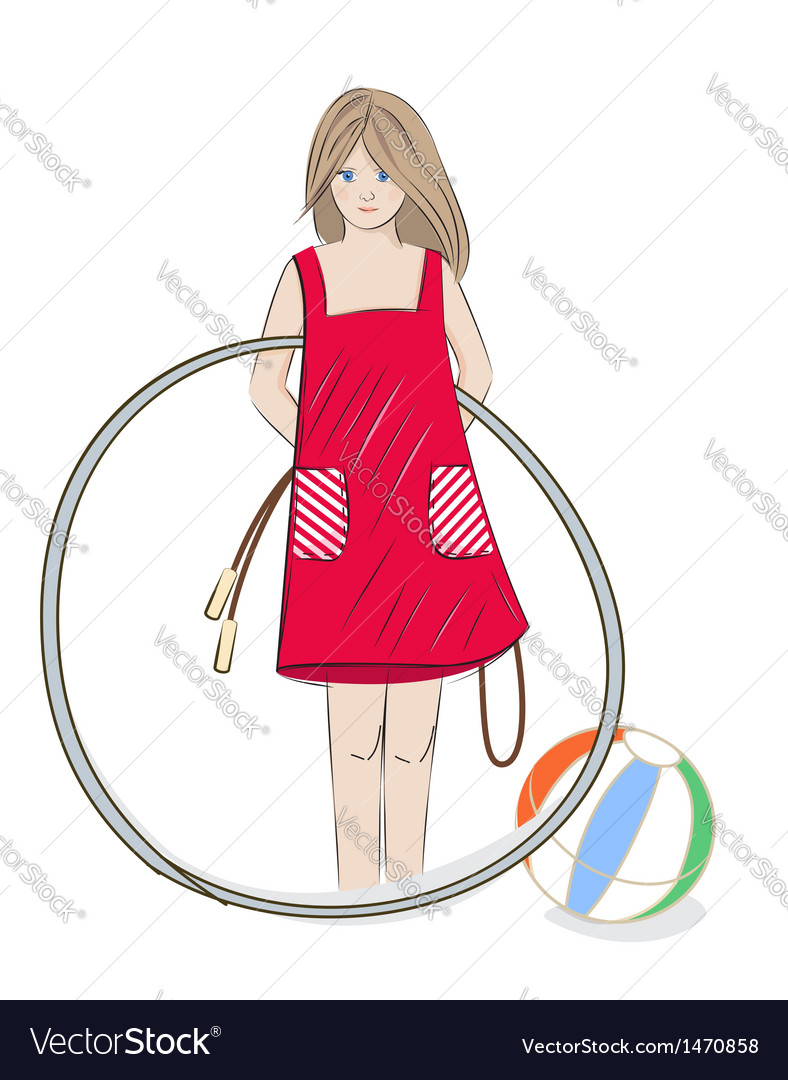 Girl with hula hoop beach ball and skipping rope