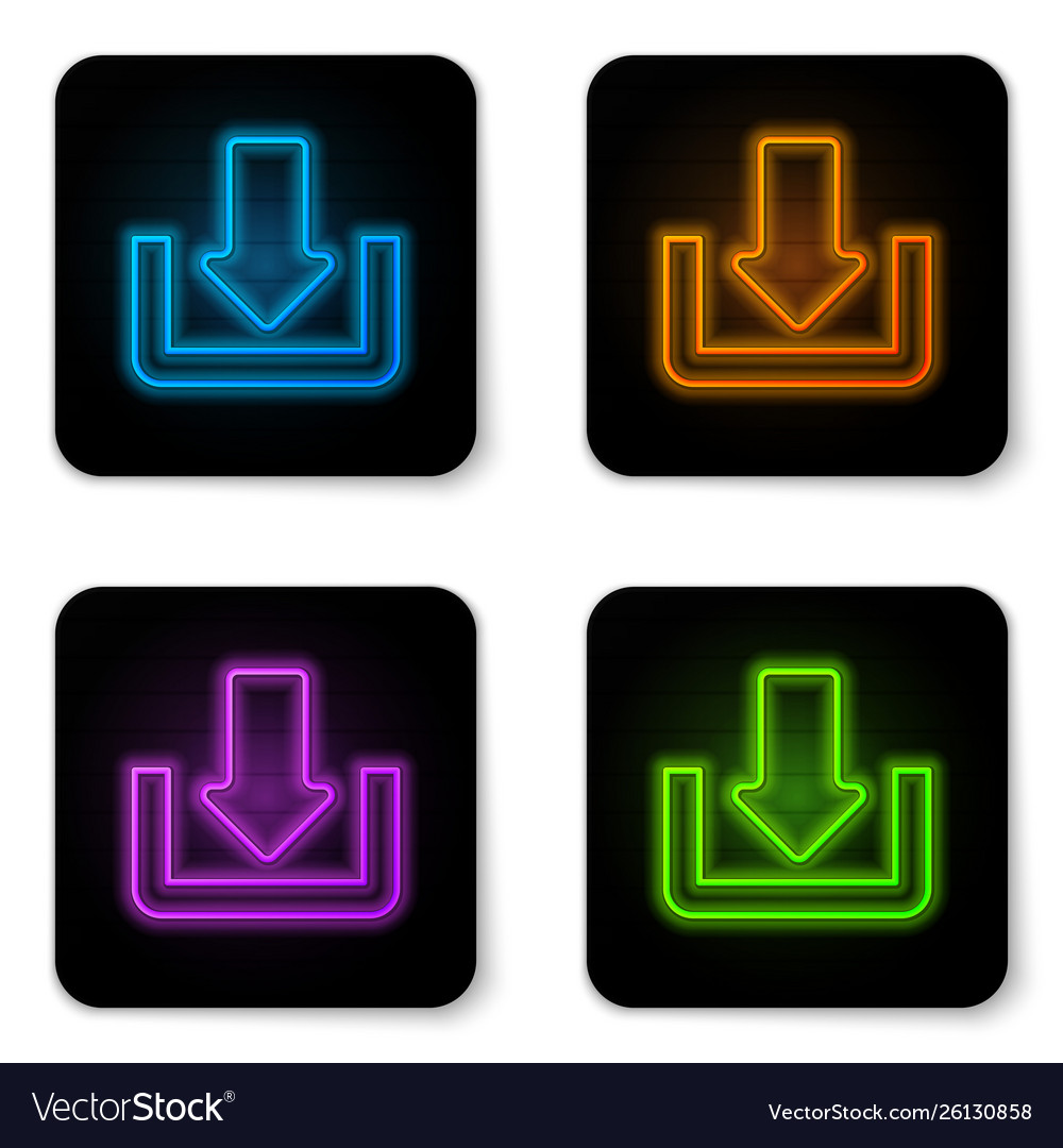 Glowing neon download icon isolated on white